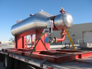 Industrial heater on truck ready for delivery
