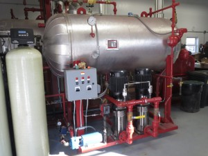 Red and silver industrial heating equipment from AHC