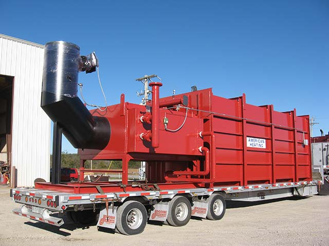a large piece of industrial heating equipment ready for transport