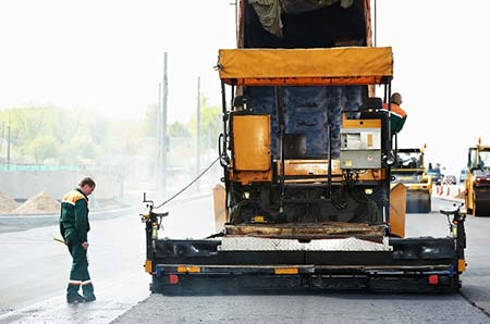 asphalt paver at work