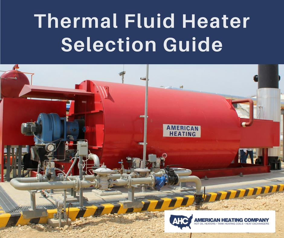 Thermal Fluid Heater Selection Guide Cover featuring an image of an American Heating Company thermal fluid heater