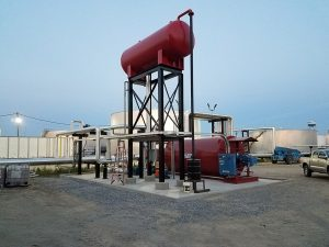 ECF Inc. Installation of AHC industrial thermal fluid heater with elevated component