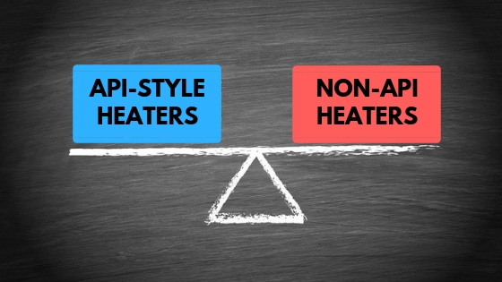 scale drawn on chalkboard that represents weighing the options between API-Style heater and non-API heaters