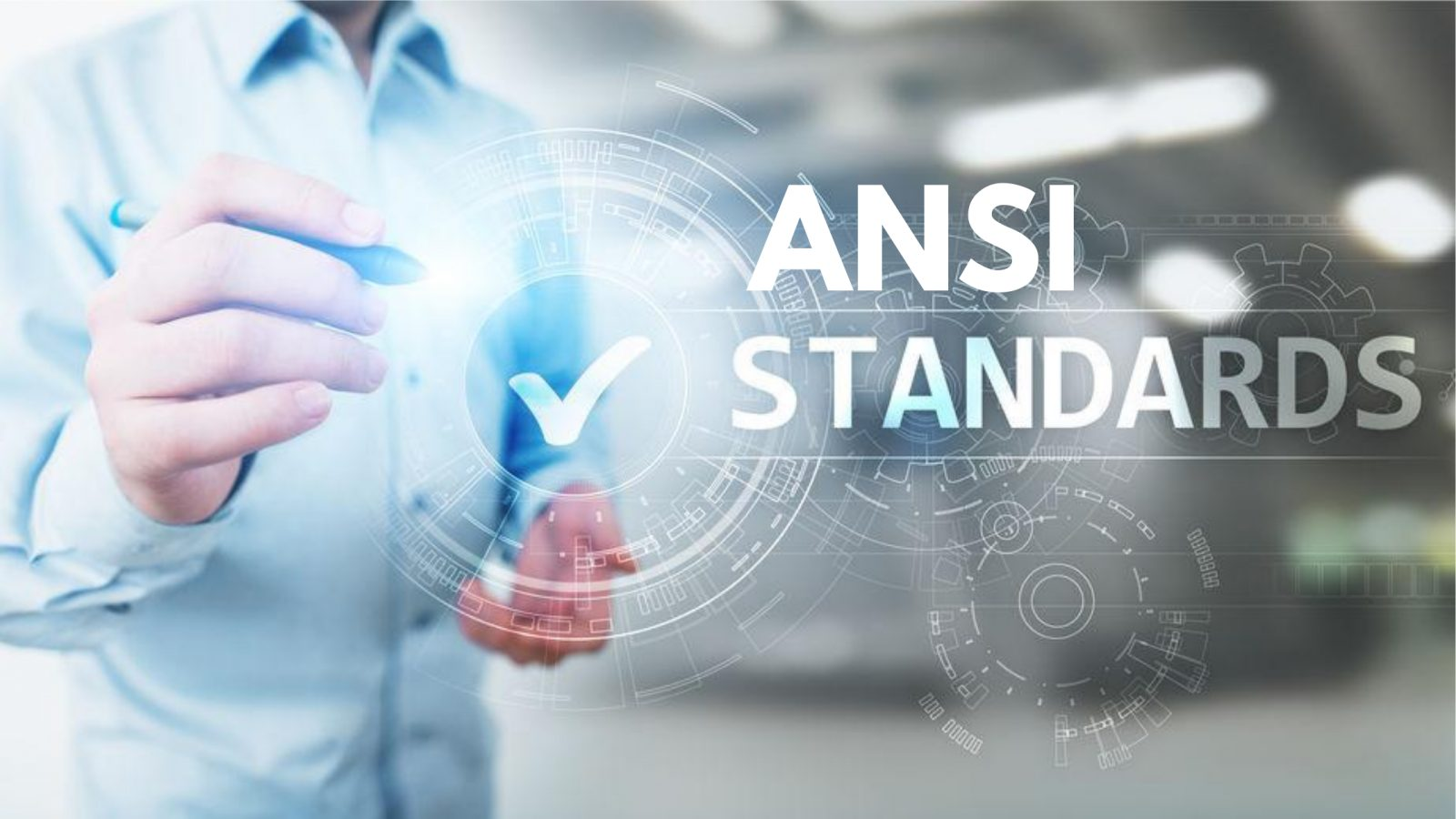 Man pointing to ANSI Standards text