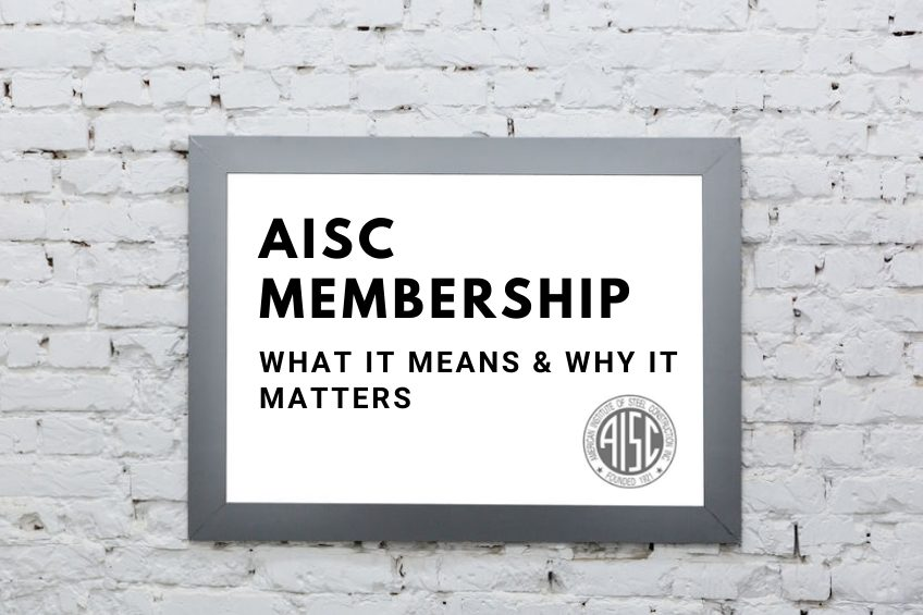 Frame on a white brick wall featuring AISC logo