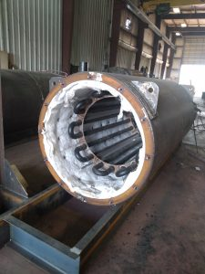 Internal view of thermal fluid heater from American Heating Company