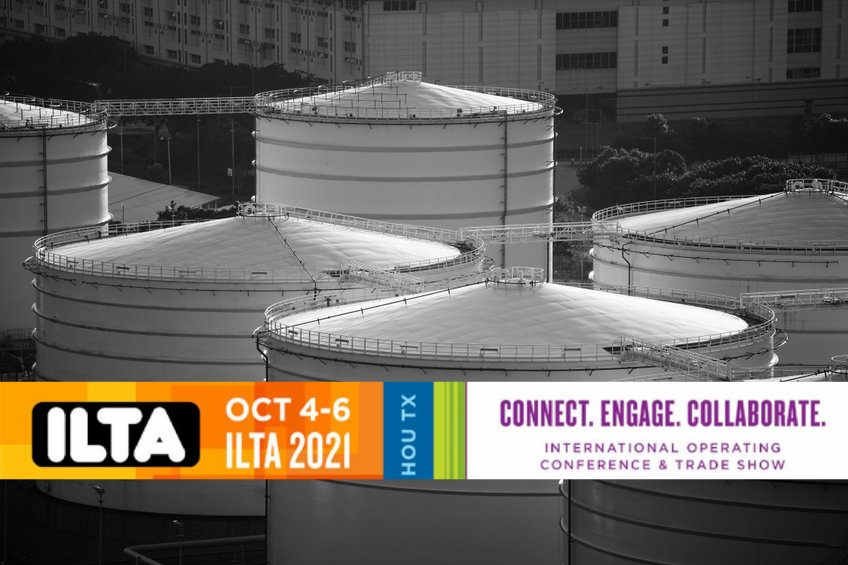 Graphic for 2021 ILTA Conference & Trade Show with background of tank terminals